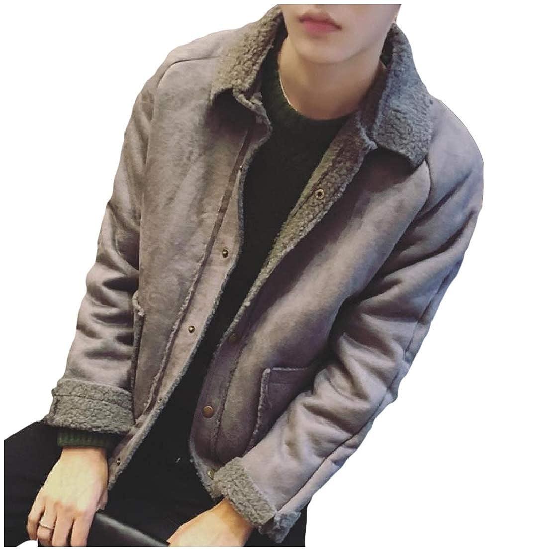 YUNY Men Turn-Down Collar Pocket Brumal Fleece Button Short Jacket Coat Grey S