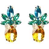 Freedi 1Pair Fashion Stud Earrings Crystal Pineapple Ear Studs for Women Girls Jewelry Gift