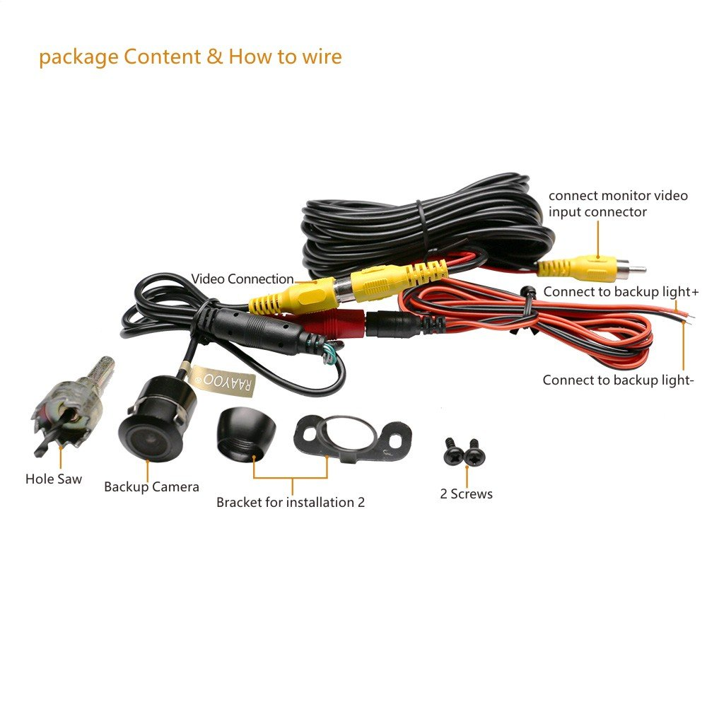 Reverse Backup Cameraraayoo L002 2 In 1 Universal Car Lcd Camera Wiring Diagram Get Free Image About Front Side Rear View Camera2 Installation Optionsremovable Guildlinesmirror Non Mirror