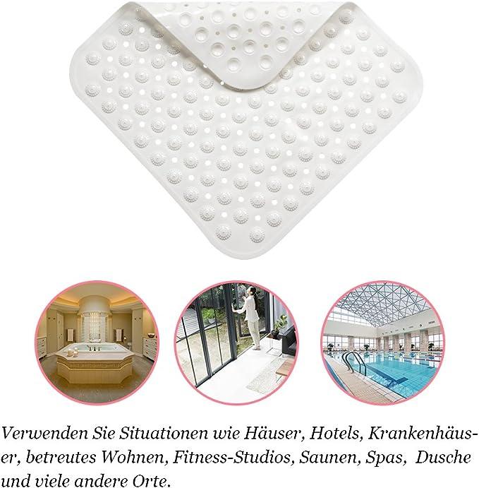 53 * 53cm FYHCY rutschfeste quadratische Duschmatte f/ür Badezimmer Wasser Cube durchscheinende PVC Anti-Rutsch-Badematte mit Grip Saugn/äpfen