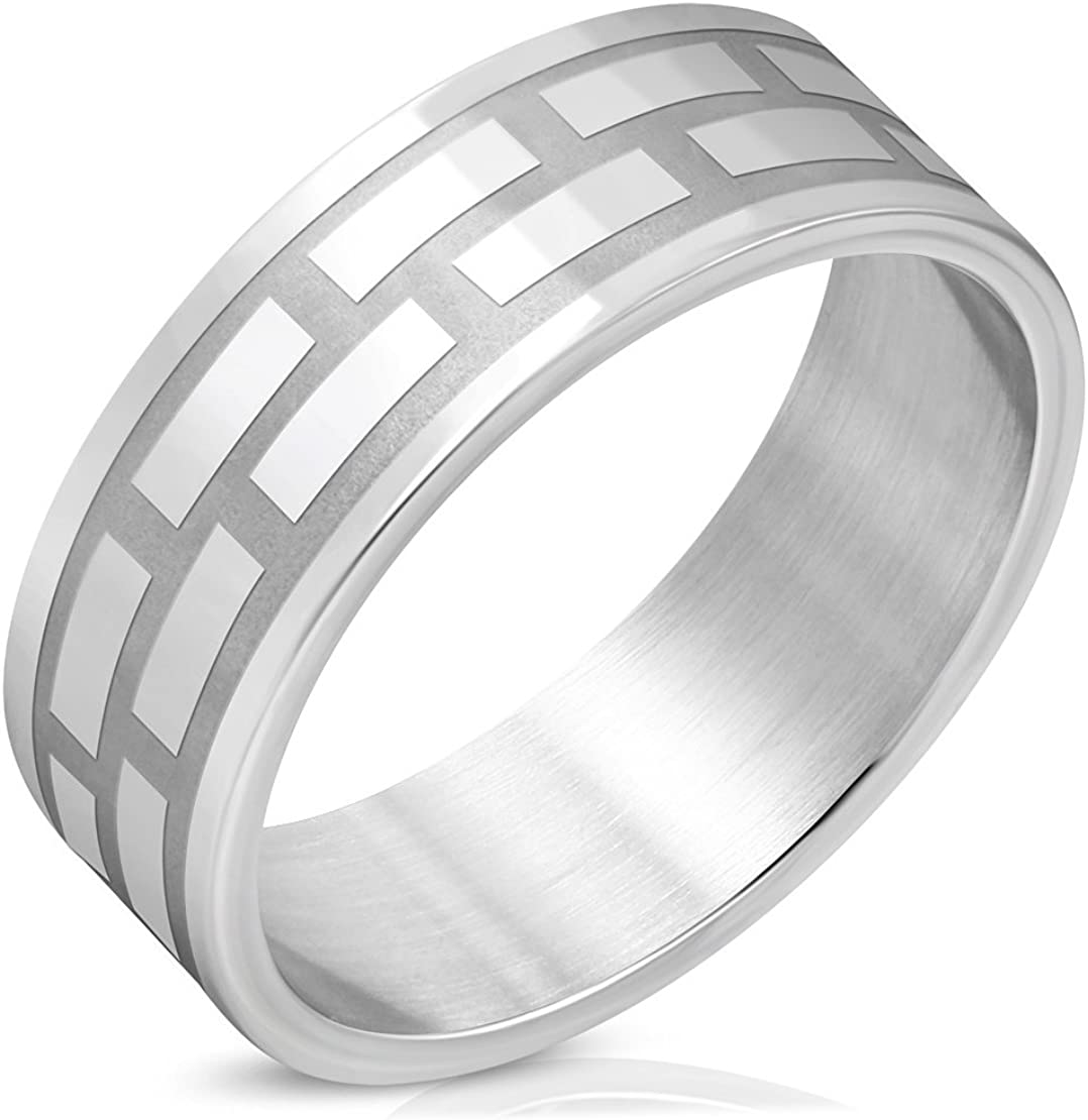 Stainless Steel Polish /& Matte Finished Checker// Grid Flat Band Ring