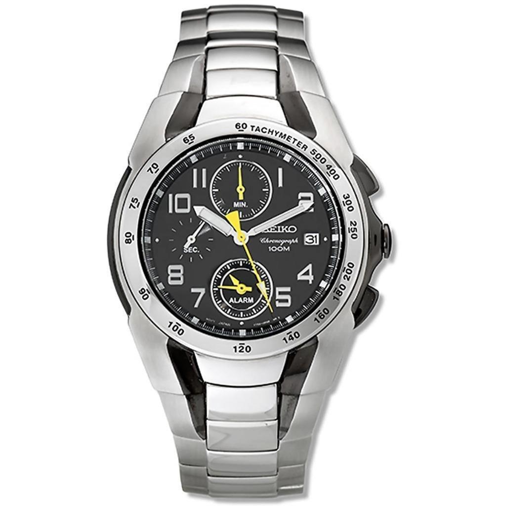 Seiko SNA473 Men's Black Dial Two Tone Steel Chronograph Alarm Watch