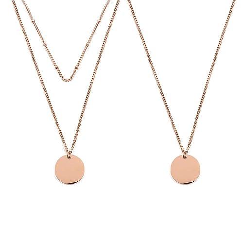 Flongo 2 Collares para Mujer Oro Rosa Gargantillas de Acero ...