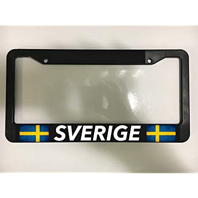 First Rober Aluminum Alloy Sweden Swedish Sverige Stockholm Gothenburg Europe Chrome Black License Plate Frame New Holder : Sports & Outdoors