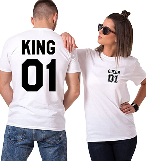 King Camiseta Pareja 100% Algodón Shirt Queen Impresión 2 Piezas T-Shirt Manga Corta Verano Como Regalo CgbYij9W