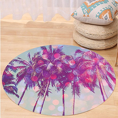 VROSELV Custom carpetNature Palm Trees Hawaiian Tropic Seashore Beach Californian Miami Sunbeams Image for Bedroom Living Room Dorm Fuchsia Purple Green Round 34 inches (Miami Furniture Repair Rattan)