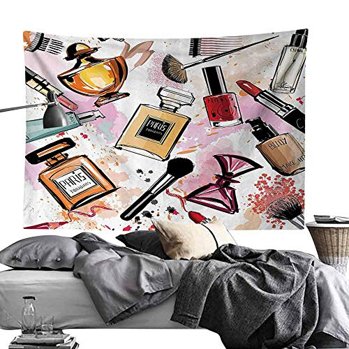 Homrkey Decorative Tapestry Girly Decor Cosmetic and Make Up Theme Pattern with Perfume and Lipstick Nail Polish Brush Modern City Lady Hippie Tapestry W90 x L59 Multi