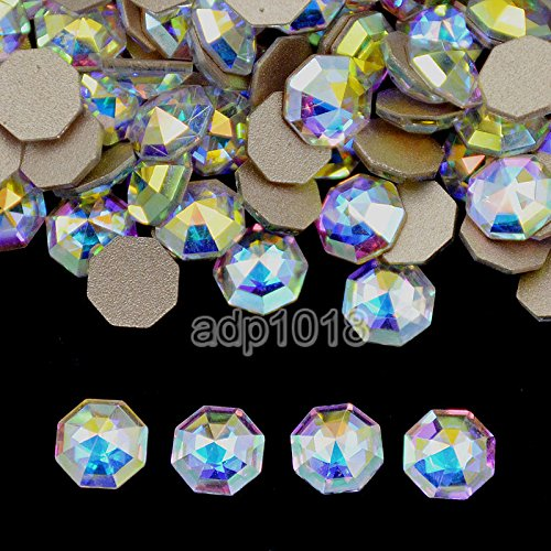 Crystal Octagon Shape - AD Beads Top Czech AB Crystal Multi-Shape Flatback Rhinestone Nail Art Decoration DIY (50 Pcs, 29. Octagon 6x6mm)