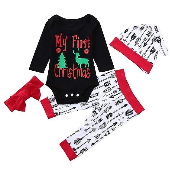 K-youth Conjuntos Bebe Niña Navidad Letras Elk Body Bebe Manga Larga Monos Mameluco Ropa
