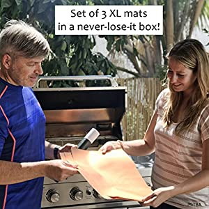 Copper Grill Mats by MiTBA – Best Baking & Grilling Accessories Ever! These Non-Stick & Reusable Magic Gadgets Will Get You Flawless Meat and a Clean Barbecue! Set of 3 XL Mats in a Never-Lose-It Box!