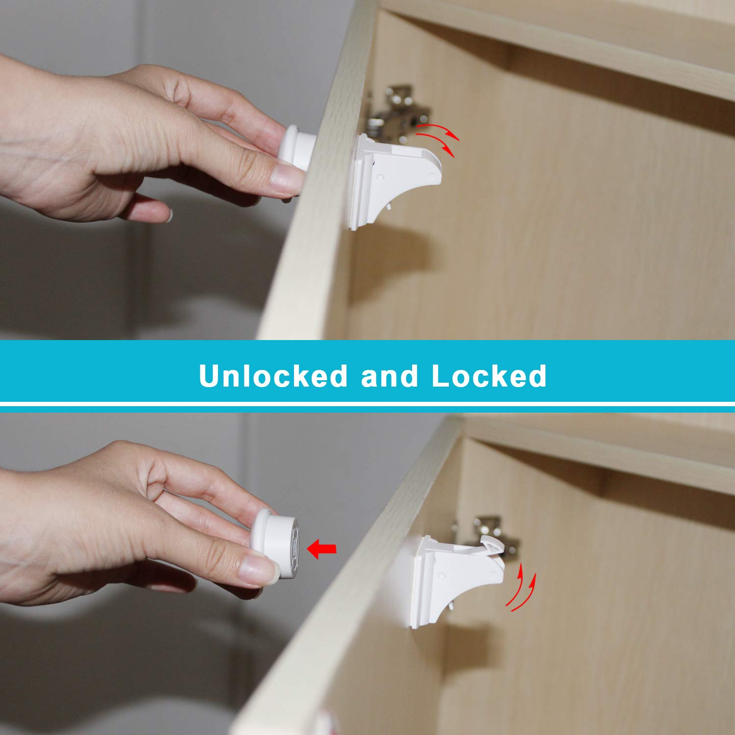 Magnetic Cabinet Locks - Baby Safety Locks, Childproof Cabinet Latch for Baby Proofing Cabinets, Drawers and Locking Cupboard - No Tools Needed (10 Locks with 1 Keys)