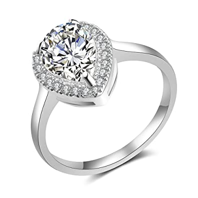 07c34eb523d2e dnswez 4 Ct Promise Rings Engagement Wedding Teardrop Pear Cut CZ Cubic  Zirconia Solitaire Girls Women Size:6-9
