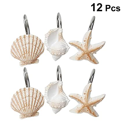 Image Unavailable Not Available For Color OUNONA 12pcs Beach Shower Curtain Hooks Decorative Home Bathroom Seashell