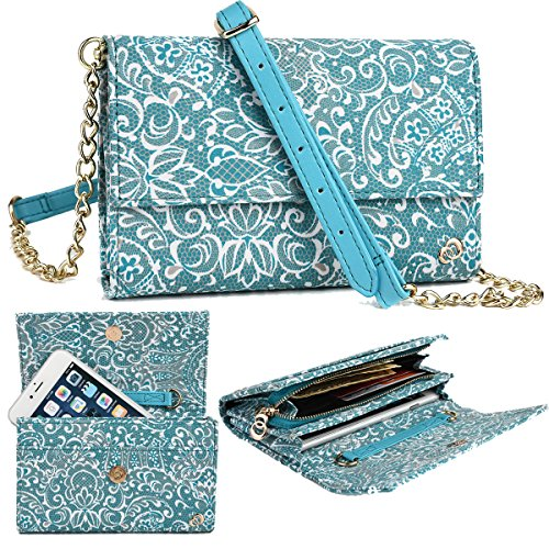 Xtreme Mobile - NuVur Teal Large Women's Universal Lace Print Over the shoulder ::Card slots:: Wallet Smartphone Clutch Fits Intex Aqua Xtreme