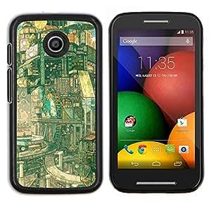 Qstar Arte & diseño plástico duro Fundas Cover Cubre Hard Case Cover para Motorola Moto E (Fantasy Sci Fi Città)