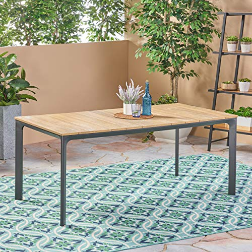 Great Deal Furniture 305147 Jace Outdoor Aluminum and Wood Dining Table, Natural, Finish
