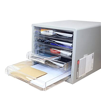Archivadores Escritorio 5 Capas de plástico de Oficina A4 (Color : Blanco)