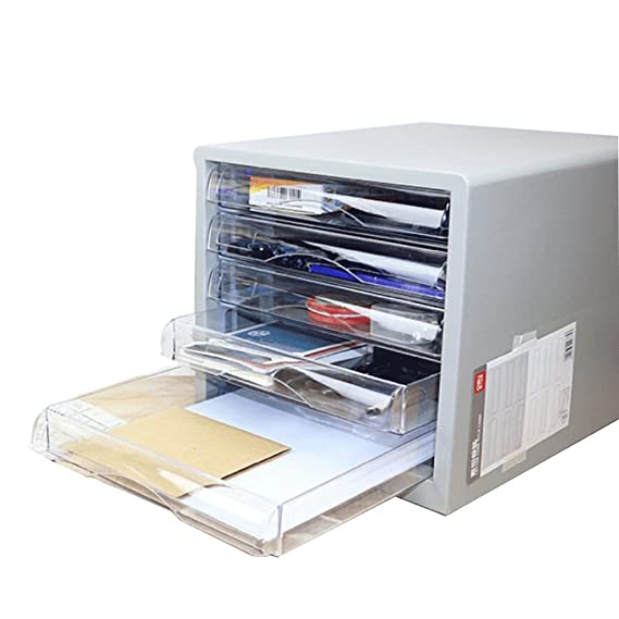 Amazon.com: File Cabinets Desktop 5-Layer Plastic Office Storage A4 ...