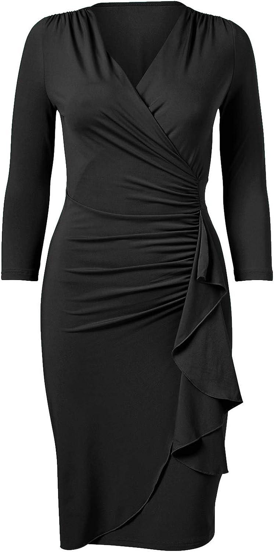 ABYOXI Damen Elastisches Business Etuikleid 3/4 Ärmel V-Neck Bleistiftkleid Abendkleid Große Größen mit Gürtel