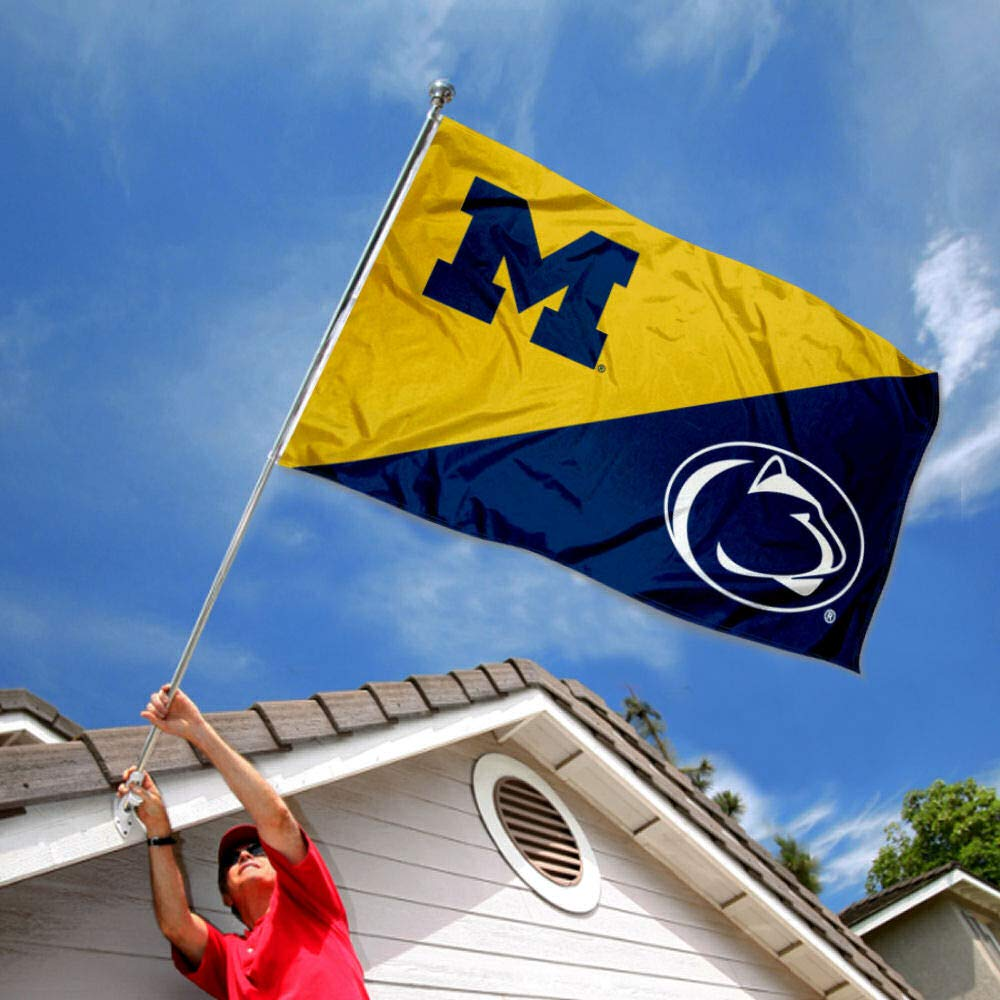 Split Michigan vs Penn State House Divided 3x5 Flag College Flags and Banners Co