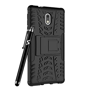super popular aec1d 1ff34 Case For Nokia 3 Phone Hybrid Rugged Armor Shockproof Kickstand Back  Protective Cover For Nokia 3 (Black)