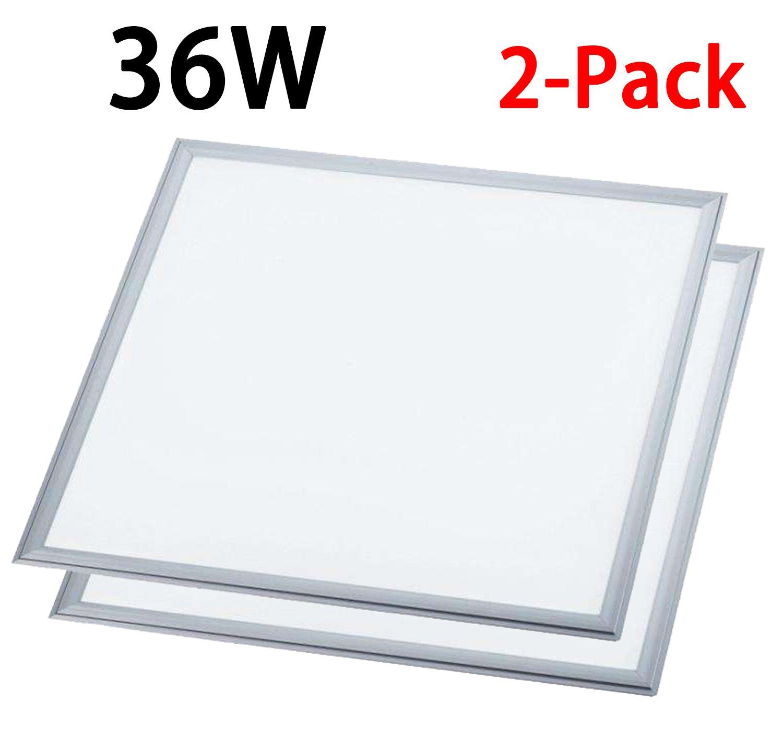 1000LED LED Traffer Flat Panel Light 36W 0-10V Dimmable 2ft x 2ft 4680Lm 4000K AC110-277V 2-Pack
