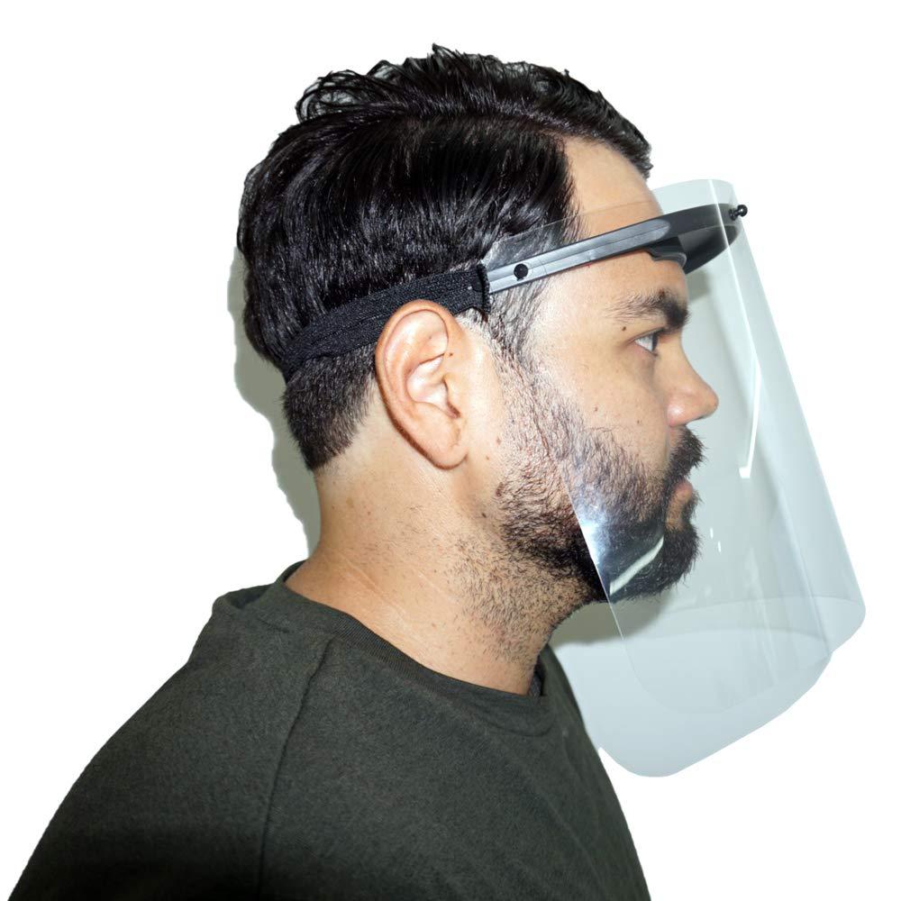 KAPSOLUTE | Pack 5 Pantallas Protección Facial B5 | Plástico Protector o Pantalla Facial Ajustable | Visera Protección Agujeros Antivaho | Face Shield Mask | Para Niños o Adultos (5)