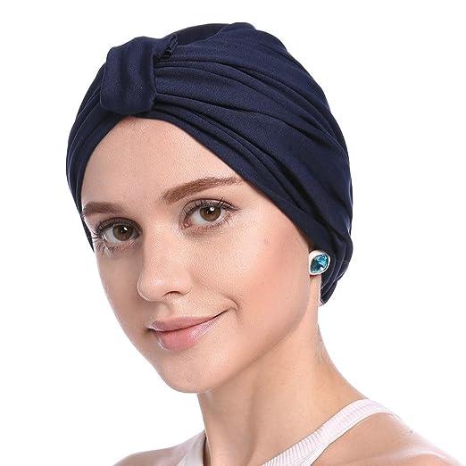 Biback Pañuelo la cabeza Turbante Mujer apagado tapa para quimio, pérdida de pelo, Color sólido de las mujeres Sencillo Sombrero de Turbante Modal Caída de ...