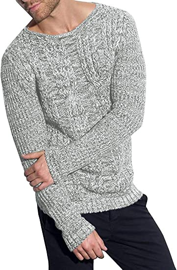 Mens Pullover Sweaters Slim Fit Knit Cable Crew Neck