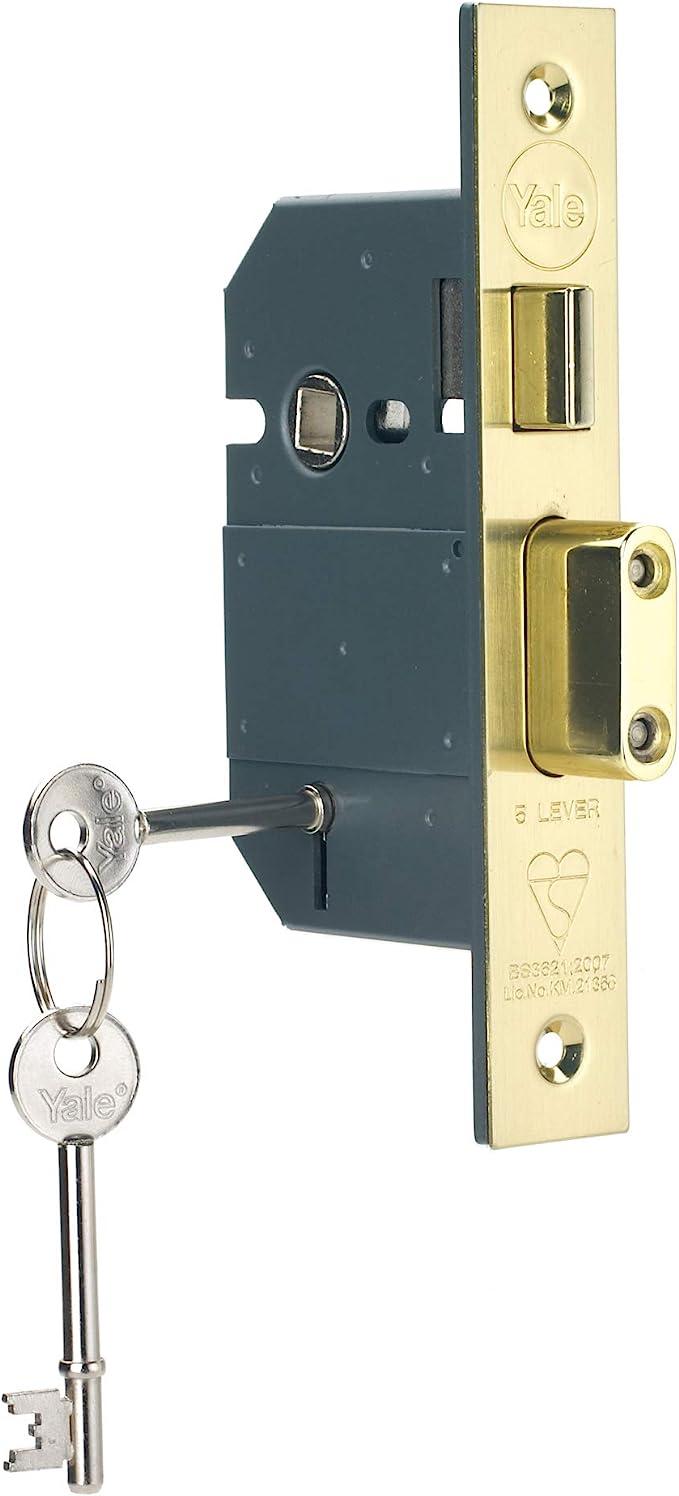 "5 Lever British Standard Mortice Door Sash Lock Sashlock 3 /"" 76mm Brass ZBSS"