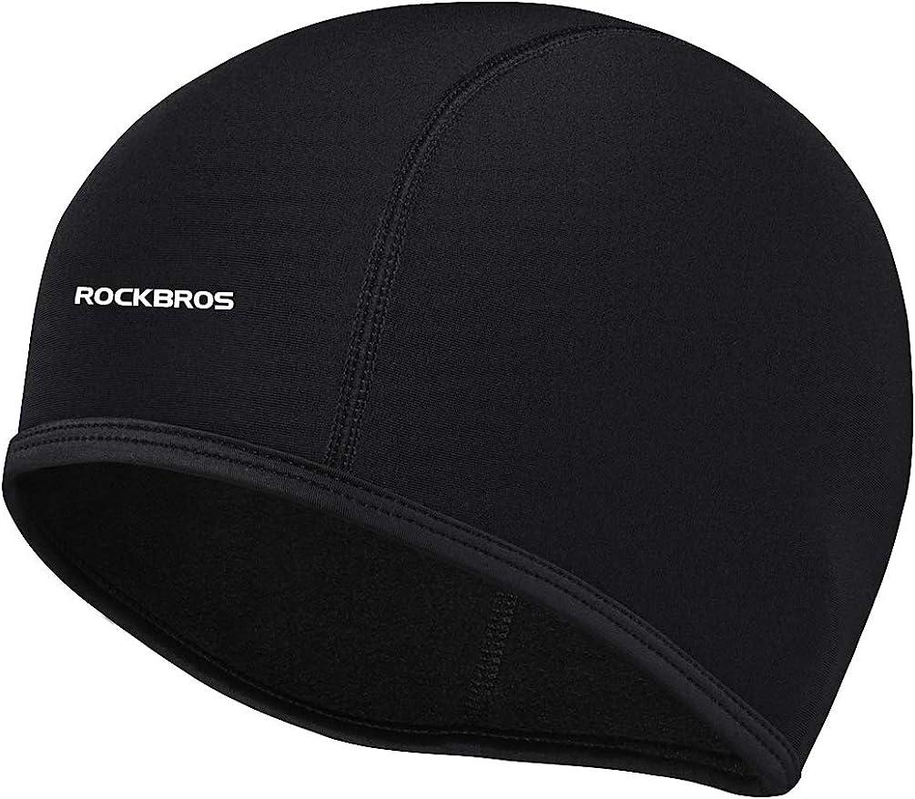 ROCK BROS Skull Cap Men's Winter Cycling Cap Windproof Warm Fleece Thermal Hat Helmet Liner Caps Black for Hiking Skiing Riding