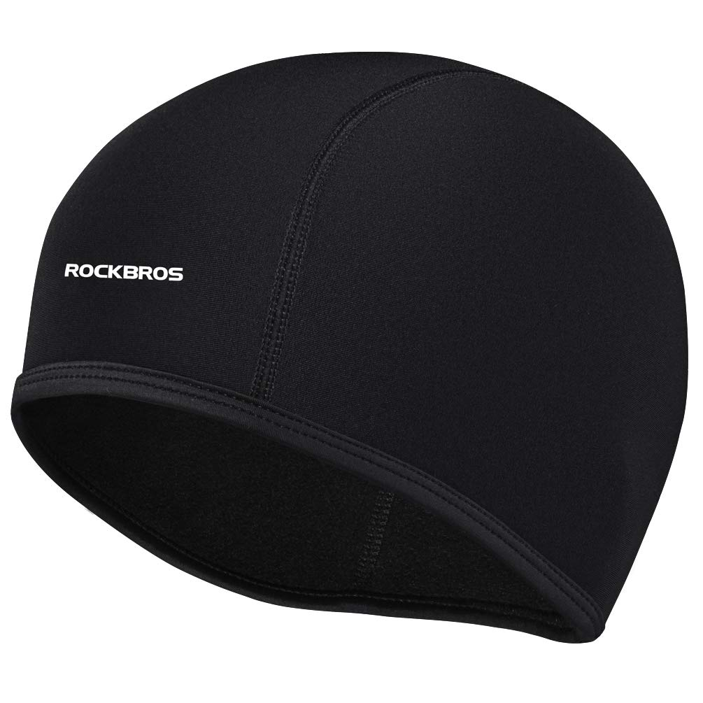 ROCKBROS Men's Winter Cycling Cap Windproof Warm Fleece Thermal Hat Helmet Inner Caps Black for Hiking Skiing Cycling Riding