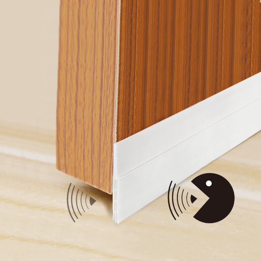 Door Bottom Seal Rubber Strip Self-Adhesive Under Door Sweep Weather Stripping Anti-Bug by WeiBonD Anti-Noise White