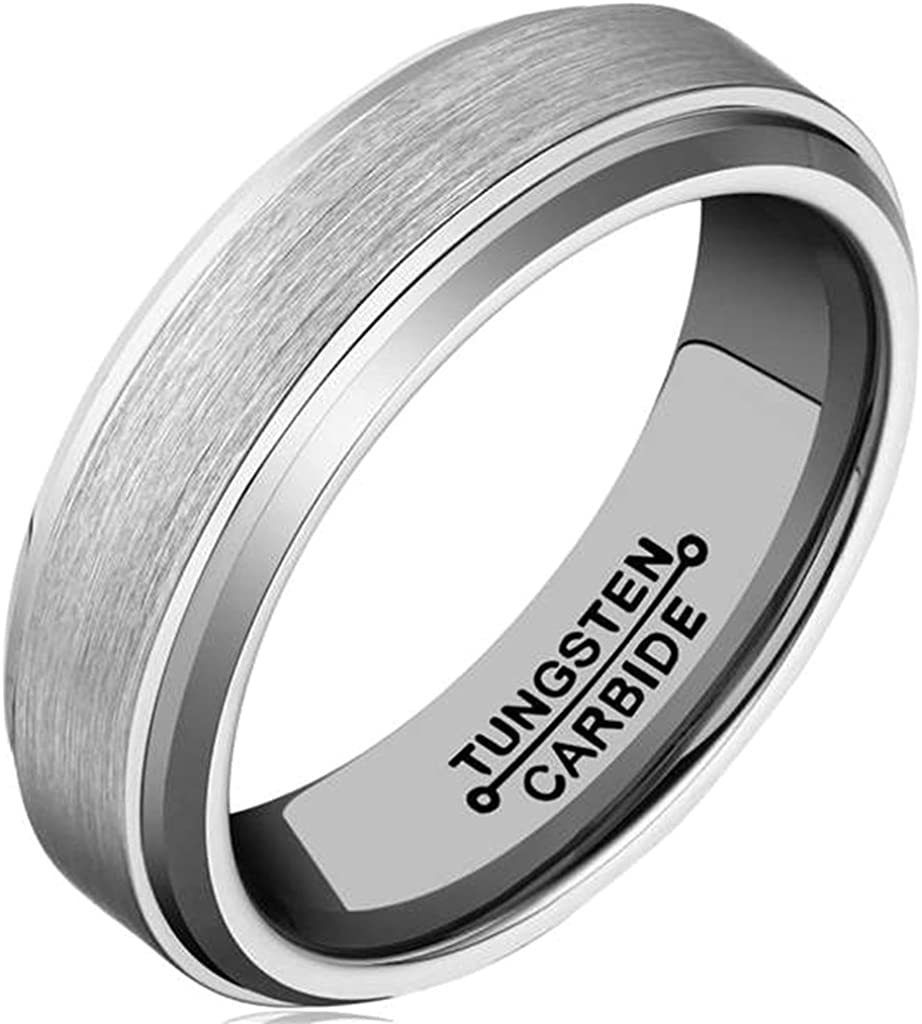 Bishilin 6mm Mens Stainless Steel Wedding Bands Tungsten Silver Matte Wedding Rings Size:12