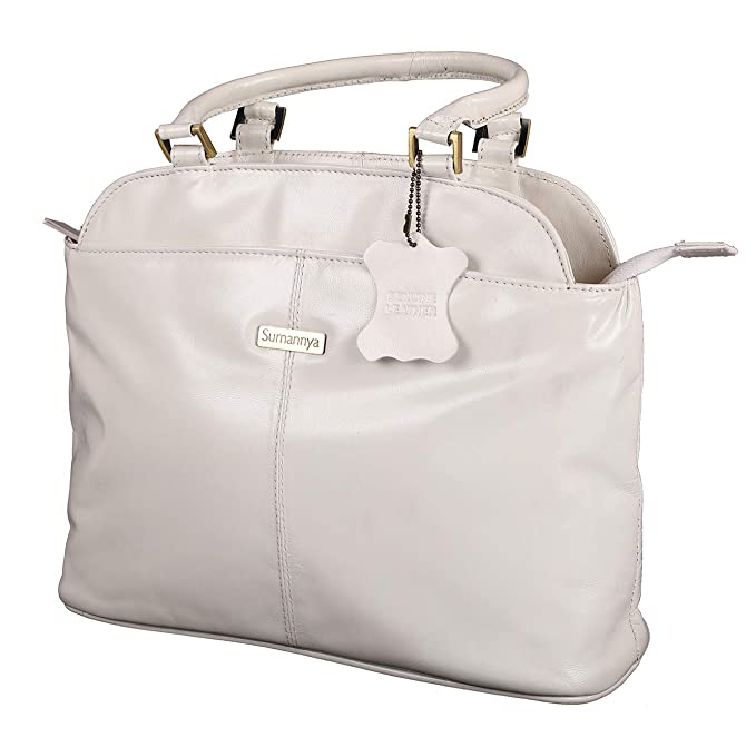 af8d46fe6010 Buy Sumannya Genuine Leather White Ladies Handbag Online at Low Prices in  India - Amazon.in