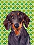 Caroline's Treasures LH9178GF Dachshund St. Patrick's Day Shamrock Portrait Flag, Small, Multicolor For Sale