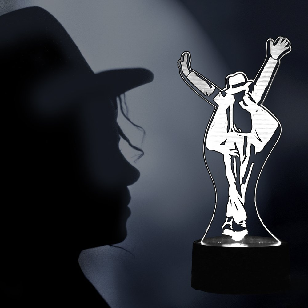 MJ Gifts Michael LED Jackson Lights Fans Dancer Michael Memory Jackson Gifts, Michael Souvenir Michael Lamp Creative Presents King of Pop Moonwalk Desktop 3D Decorative Lights for Home Party Festival