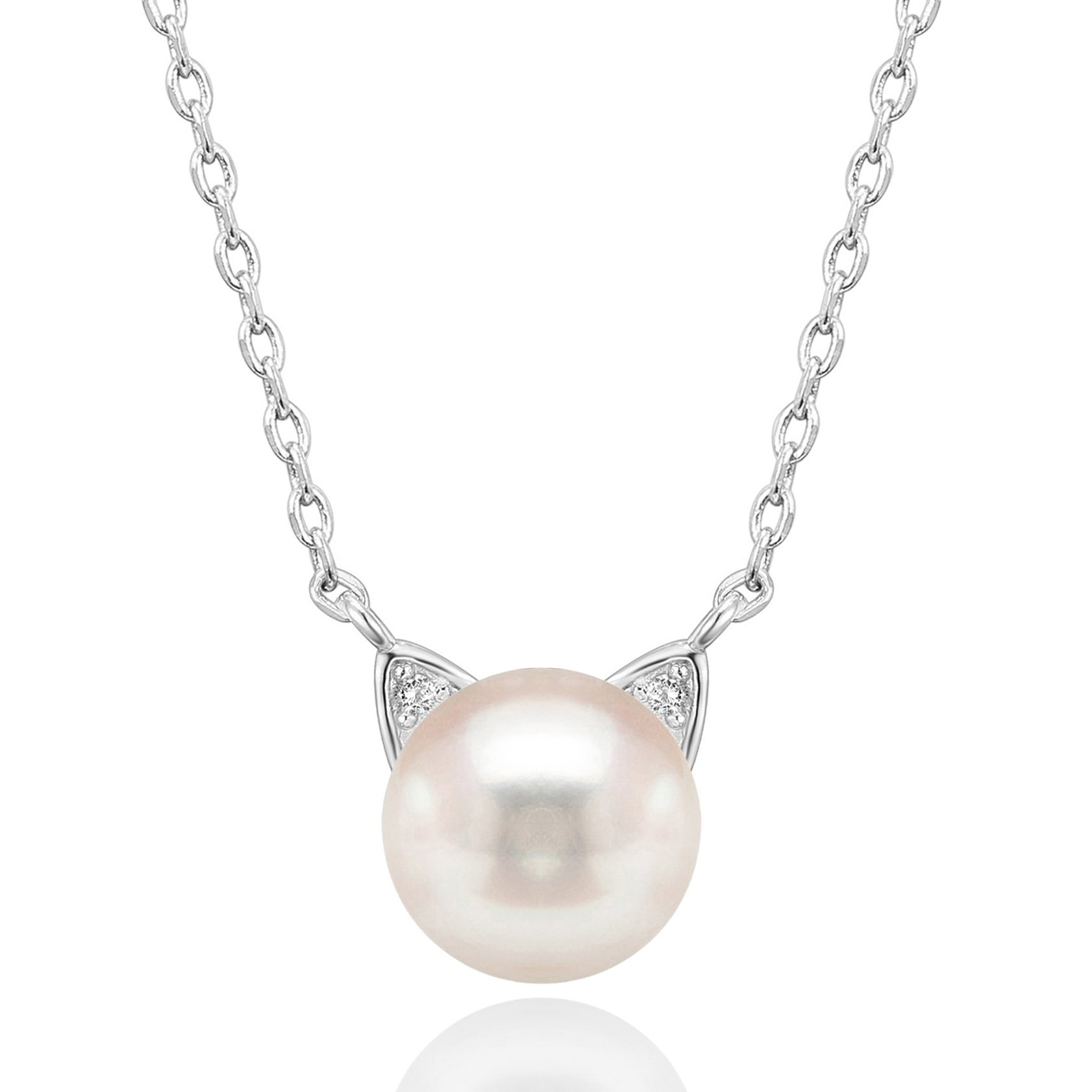 PAVOI Handpicked AAA+ Cat Ear Freshwater Cultured Pearl Necklace Pendant - White