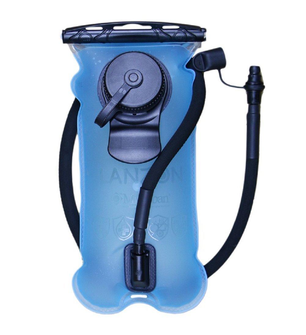 LANZON 2L / 2 Liters Hydration Water Bladder (NO Cleaning Kit) - Blue - Leakproof Reservoir, FDA Approved, Hiking Bladder