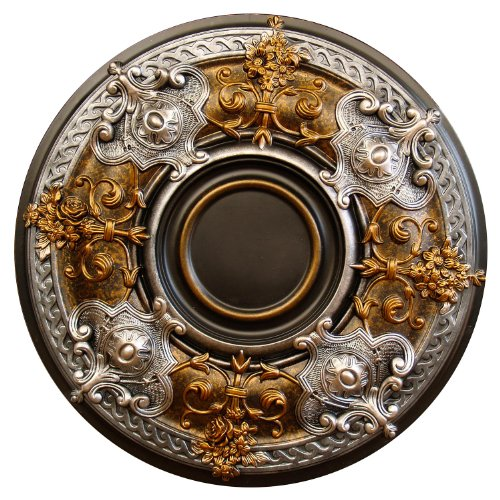 "Fine Art Deco ""Dark Platinum"" Hand Painted Ceiling Medallion 28-1/8 In. Finished in Bronze and Silver"