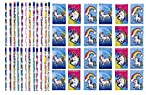 LightShine Products 48 Piece Unicorn Theme Pencils & Notepads Birthday Party Favors Bundle for Kids Parties or School Classroom