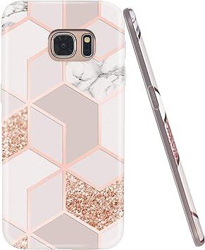 Jaholan Coque Galaxy S7 Coque TPU Gel Housse Etui Protection Ultra Fine Mince Léger Case Souple Coque pour Samsung Galaxy S7 - Marbre Design Rose Gold
