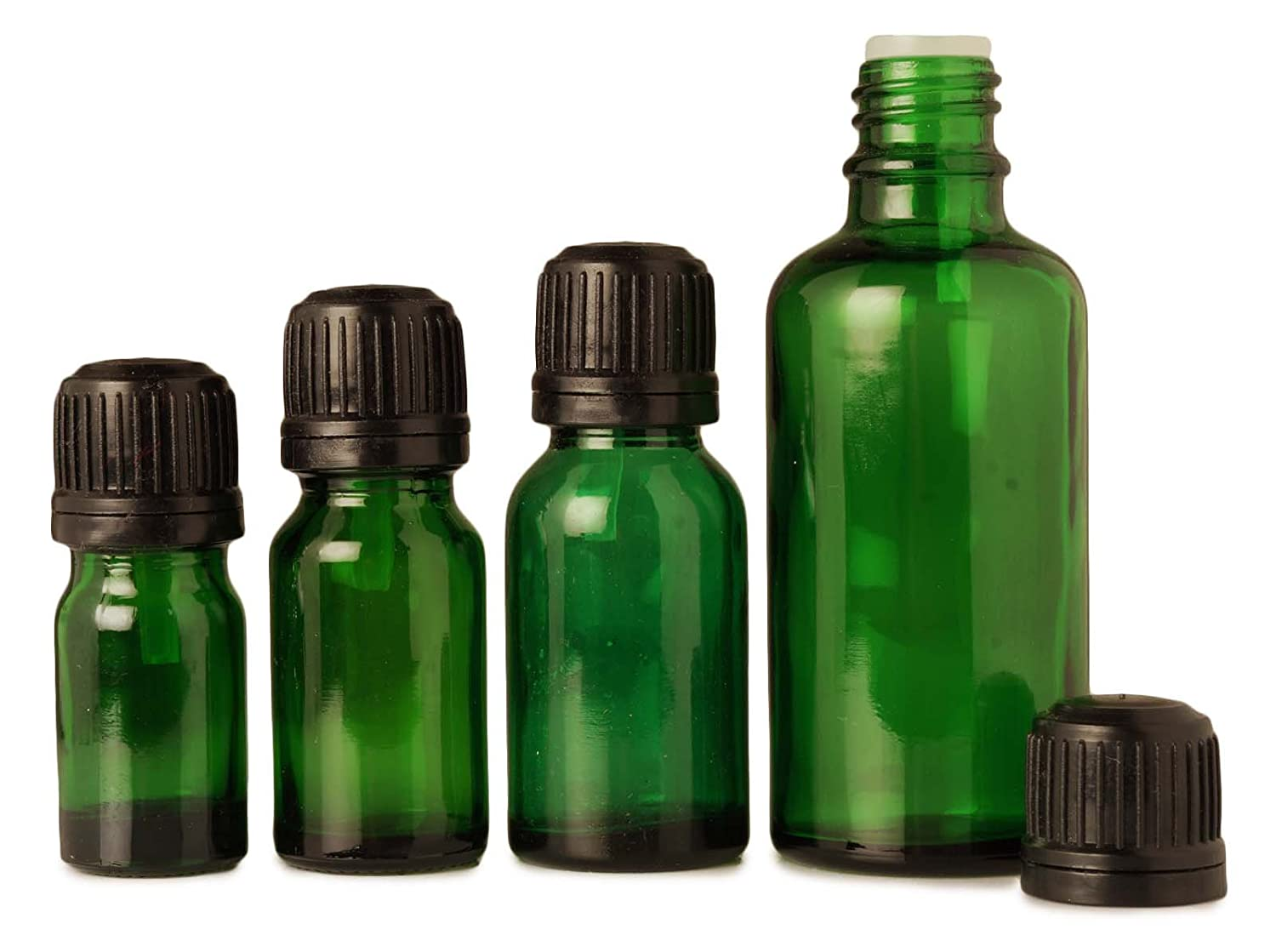 Lot of 100 x 5 ml Green Glass Essential Empty Bottles With Black Tamper Evident Cap For Aromatherapy Oils MT Bottles & Jars