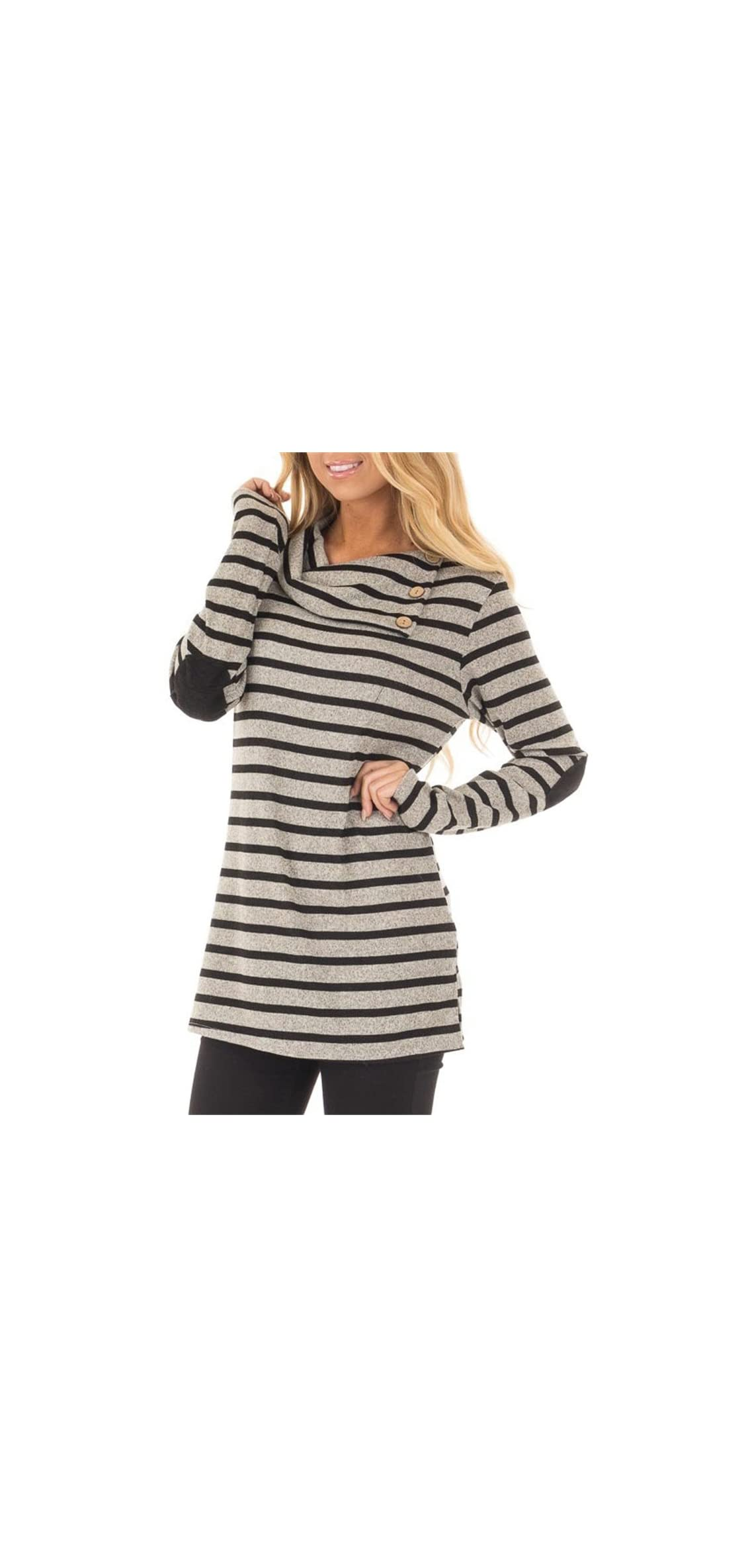Women's Long Sleeve Striped Button Cowl Neck Tunic Tops