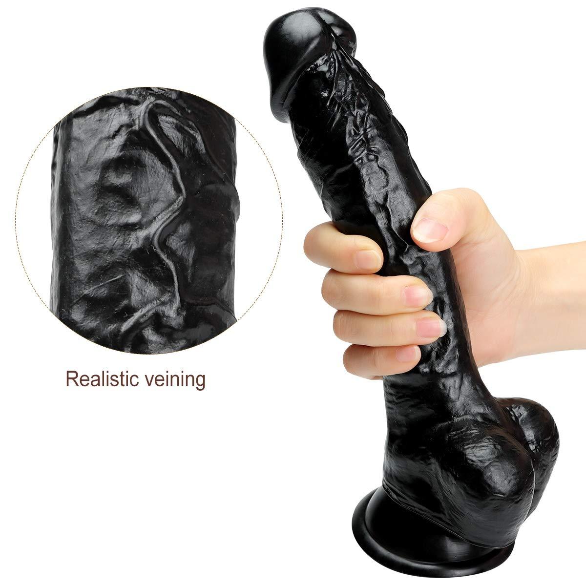 Plswg Fcafz Dildo Realista, PVC médico con réplica testículos gordos, réplica con de pene con tapón Anal Real, 24.5cm, Black ee5903