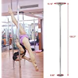 go2buy Dance Pole 45mm Solid Dancing Fitness Portable Static Stripper Spinning Exercise, Silver