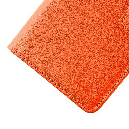 VAK Lenovo B Cartera Plegable Cuero Tipo Libro Tarjetero Ranura Funda De Bolsillo Para Lenovo B Con Protector De Pantalla Gratis & Stylus Táctil - Marron Naranja
