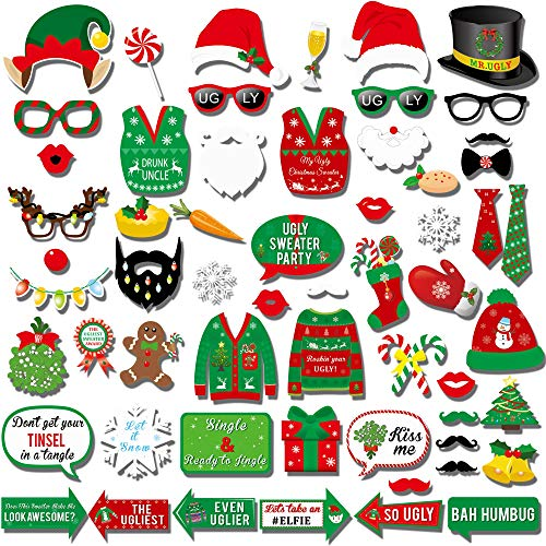 Ugly Christmas Sweater Photo Booth(59Count),Konsait Funny Christmas Photo Booth Stick Funny Xmas Props Selfie Accessories for Adults Kids for Christmas Theme Party Favors Decorations Decor Supplies