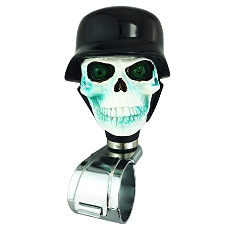 Abfer Knob for Steering Wheel Universal Power Turning Assist Spinner Accessory Suicide Knobs Cool Pirates Style for Vehicles Trucks Boats