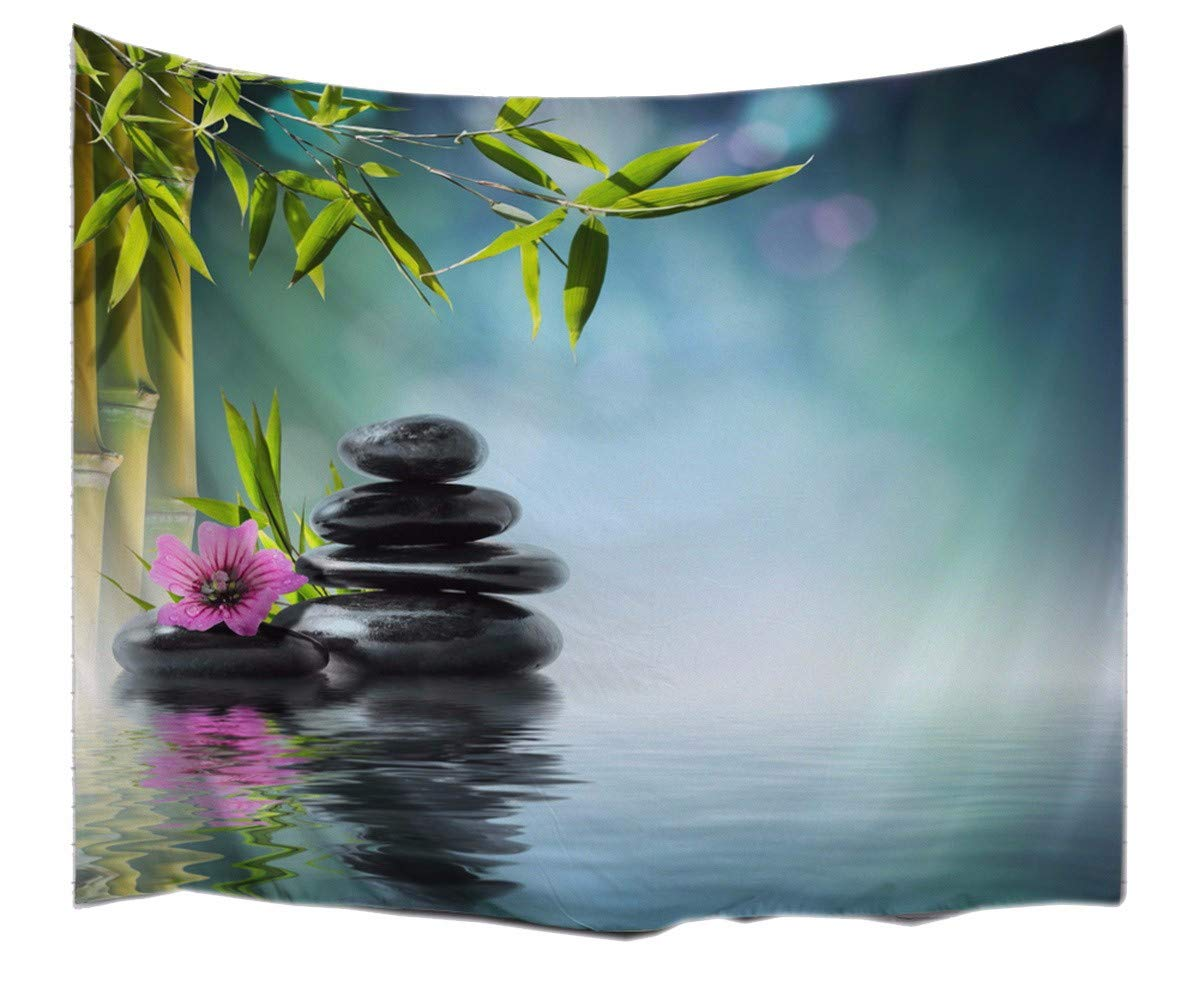 A.Monamour Green Bamboo Black Rock Stones In Water Lake Zen Garden Spa Décor Textile Yoga Mat Bed Sheet Fabric Wall Hanging Tapestry Home Décor 153x102cm/60''x40''